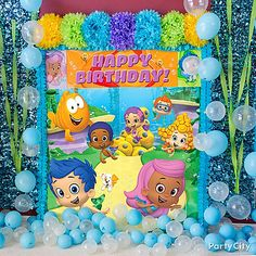 Time for a swim! Set up a Bubble Guppies scene setter with balloons & streamers for great photo ops!