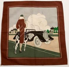 Vintage Hankie of Deco Lady with Dog & Rolls Royce | Etsy