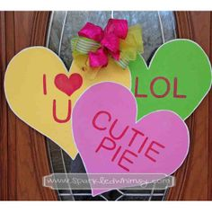 Conversation Hearts Valentine Door Hanger Sign By Sparkledwhimsy 40 00 Wooded Kind Of Wreath Wooden Door