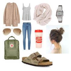 """""""Basic spring day"""" by lorena-246 on Polyvore featuring Paige Denim, H&M, Project Social T, Birkenstock, Fjällräven, Ray-Ban, ban.do and Casio"""