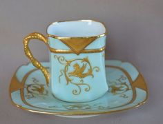 French-Rare-Collectible-Porcelain-Cup-Saucer-Gold-Enamel-Chimera-Etienne-Son-4