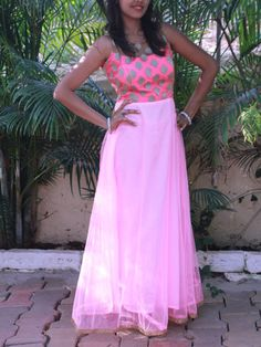 Baby Pink Fusion Gown with Shoulder Sheer Bodice | Sweta Sutariya