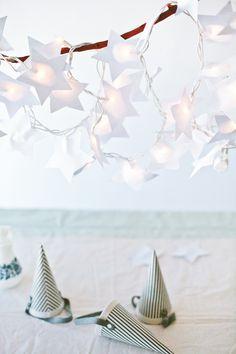 DIY Paper Star Light String Tutorial from A Subtle Revelry Paper Star Lights, Paper Stars, Star Garland, Light Garland, Diy Paper, Paper Crafts, Diy Crafts, Hanging Lights, Fairy Lights