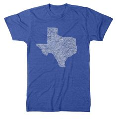 "Texas Towns T-Shirt - ""The Original"" 187 Texas Towns Handwritten in Correct Geographic Location."