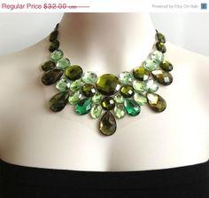 BLACK FRIDAY SALE green bib necklace