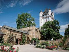 Die Kurfürstliche Burg Eltville 14e-17e eeuw, rechter oever, te bezichtigen (enkele km stroomopwaarts van Rüdesheim