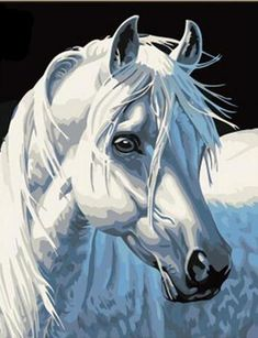 2015 New Acrylic paint by number kit White Horse DIY PBN in Crafts, Art Supplies, Painting Supplies, Paint by Numbers Kits Simple Oil Painting, Oil Painting On Canvas, Diy Painting, Painted Canvas, Hand Painted, Acrylic Canvas, Horse Oil Painting, Painting Trees, Cartoon Painting