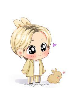 Bts Chibi, Anime Chibi, Kawaii Anime, Cute Cartoon Drawings, Kpop Drawings, Cartoon Pics, Jungkook Fanart, Dibujos Cute, Bts Pictures