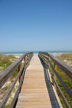 Across the boardwalk into the sandy beach,  St. Augustine #Florida - #traveling dreams  MagicMurals #photo
