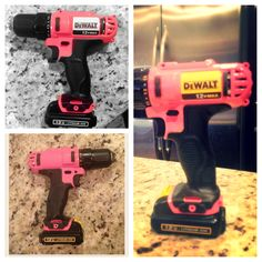 I was tired of asking Dewalt for a women's line of power tools (asked several times to see if they would partner with Susan g komen and no response) because women like power tools too! (and like that hubby doesn't like to use pink ) .... So a lil bit of disassembly, tape and spray paint .... I made my own pink Dewalt power tool! All Things Cute, Girly Things, Cute Pink, Pretty In Pink, Wood Tools, Diy Tools, Dewalt Power Tools, Tools For Women, Pink Power