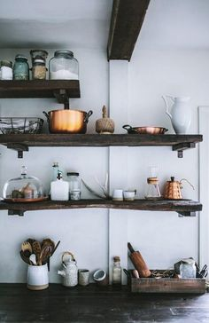 Rustic kitchen space.