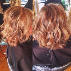 Copper hair color with balayaged highlights                              …