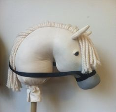 Grey stick horse - custom painted fabric and muzzle fade