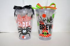 Personalized ozAcrylic Tumbler with by HeaneyDesigns. I'm getting a cricut and doing this. Halloween Vinyl, Halloween Silhouettes, Halloween Items, Halloween Boo, Halloween Crafts, Halloween Cups, Halloween Drinks, Vinyl Crafts, Vinyl Projects