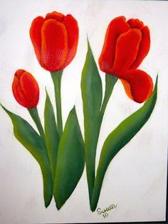 Tulips. One Stroke Painting by Susan Earl. Живопись Одним Мазком, Роспись По Ткани, Декупаж, Художественные Поделки Из Яиц, Лоскутные Одеяла, Цветочные Картины, Творчество, Тюльпан