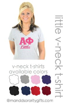 Alpha Phi Little V-neck T-shirt.  *Recommended Big Little Gift.  $28.98