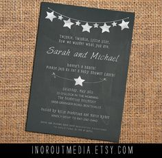 Chalkboard Baby Shower invitations - couples shower, stars, twinkle twinkle, 5x7, unknown gender, gender suprise, chalkboard invites. $2.00, via Etsy.