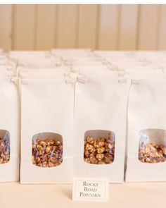 Guests munched on late-night snacks of rocky road and herb Parmesan popcorn.