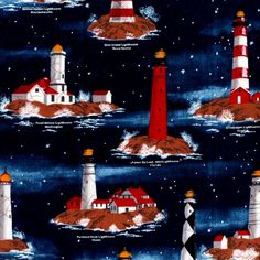 want to purchase light house quilting material | Yard Quilt Fabric Harbor Lights Scenic Nautical Fabric Lighthouses