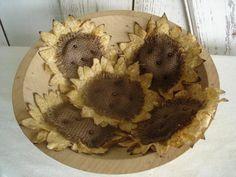 Set of 5 Sunflower Bowl Fillers Primitive by YorkiesPrimitives, $15.95