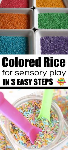 An easy no-mess way to dye rice for sensory play, sensory bins and crafts. No rubbing alcohol needed. activities for toddlers sensory Rainbow Rice - How to Dye Rice for Sensory Play in 3 Easy Steps - Happy Hooligans Color Activities For Toddlers, Sensory Activities For Preschoolers, Infant Activities, Baby Room Activities, Easy Crafts For Toddlers, Crafts For Preschoolers, Colors For Toddlers, Easter Activities, Toddler Sensory Bins