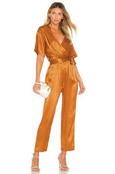 Shop for Joie Tau Jumpsuit in Copper at REVOLVE. Floral Maxi Dress, Silk Dress, Pop Fashion, Luxury Fashion, Fashion Women, Latest Fashion, Nude Jumpsuits, Jojo Fletcher, Copper Dress