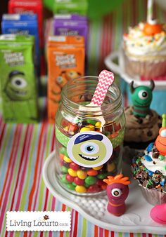 Monster Birthday Party Ideas with Free Party Printables by Amy Locurto. LivingLocurto.com #monstersu