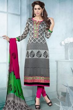 Off-white and Black Chanderi Silk Embroidered Churidar Kameez Sku Code:63-4431SL74906 $ 52.00