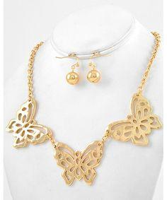 444893 Gold Tone Metal / Lead Compliant / Butterfly / Necklace & Fish Hook Earring Set