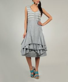 Look what I found on #zulily! Gray Ruffle Tier A-Line Dress - Women by L33 by Virginie&Moi #zulilyfinds