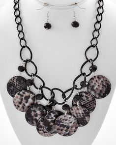 Black Tone / Black Pythonic Print Shell / Black Glass Crystal Lead Compliant / Charm Necklace & Fish Hook Earring Set
