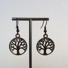 Gold Brass Pewter Tree - Of - Life Earrings, Drop Earrings, Antique Gold Earrings, Tree of Life Dangle Earrings, Vintage, Simple, Trendy by CreationsByLacieK on Etsy
