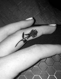 Rose Tattoo on the Inside of Your Finger.