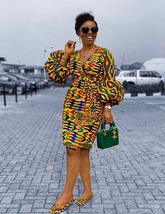 African Print Wrap Dress Puff Sleeves Kente Dress Ankara Dress African Print Clothing for Women Handmade Africa Dress African Fashion Short African Dresses, Latest African Fashion Dresses, African Print Dresses, Nigerian Fashion, Latest Ankara Dresses, Ankara Fashion, Short Dresses, African Print Clothing, African Print Fashion