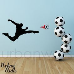 Vinyl Wall Sticker Decal Art  Soccer Player by urbanwalls on Etsy.@Ava Chen