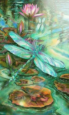 Just love mystical, colorful dragonflies.