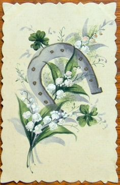 LILY of the VALLEY FLOWER HORSESHOE-VINTAGE 1917 HANDMADE HAND PAINTED POSTCARD