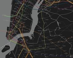 Unlike the typical New York City map, this multi-modal one by Kriston Lewis adds attempts to highlight every passenger rail service (and one BRT line) operating within New York City, from the subway to the New Jersey PATH Train to commuter rail service and even some bus service. The Roosevelt Island Tram is also represented. Though perhaps too large to prove practical, the map beautifully illustrates the many transit connections available to commuters on a single map.