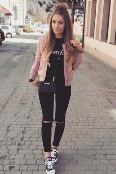 Roze jasje + combinatie met zwart❤