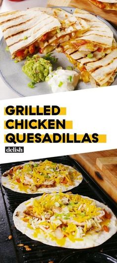 Chicken Quesadillas These are the hottest Grilled Chicken Quesadillas we've ever seen.These are the hottest Grilled Chicken Quesadillas we've ever seen. Grilling Recipes, Cooking Recipes, Healthy Recipes, Grilling Tips, Apple Recipes, Healthy Food, Yummy Food, Mexican Dinner Recipes, Grilled Chicken Recipes