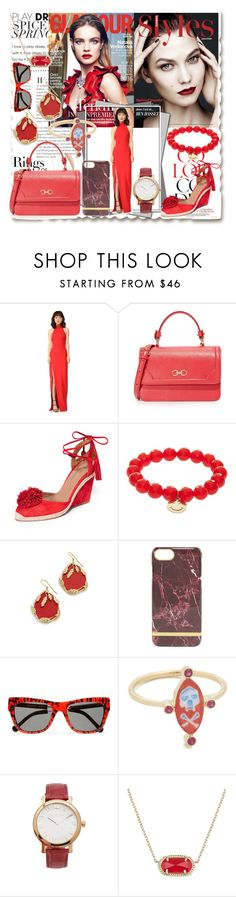 """GIMME RED!!"" by stylediva20 ❤ liked on Polyvore featuring Tiffany & Co., Cinq à Sept, Salvatore Ferragamo, Aquazzura, Sydney Evan, Aurélie Bidermann, Preen, Holly Dyment, Michael Kors and Kendra Scott"