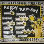 "Happy ""Bee""Day Birthday board from Knowledge Bound! Birthday Bulletin Boards, Classroom Birthday, Birthday Wall, Classroom Board, Toddler Classroom, Kindergarten Classroom, Classroom Themes, Birthday Board, Chevron Classroom"