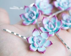 Check out Blue Succulent Hair Pins Hairpin piece Bobby Pins Hair Decoration Accessory Women Succulent Handmade Wedding Bridal Hair Christmas gift on eteniren Cute Polymer Clay, Cute Clay, Polymer Clay Crafts, Polymer Clay Jewelry, Pink Succulent, Purple Succulents, Growing Succulents, Happy Birthday Cards Handmade, Succulent Wedding Centerpieces