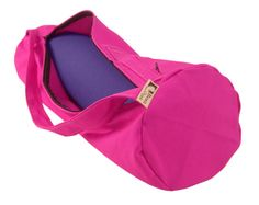 Bean Products Organic Cotton Yoga Mat Bag with full length zipper and a side pocket! -Pictured in Hibiscus-