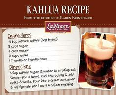 Kahlua recipe (picture only)