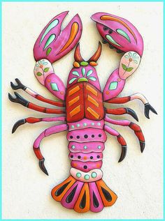 Painted Metal Pink Lobster Wall Hanging, Funky Art, Metal Wall Art, Whimsical Art Design, Haitian Art, Folk Art, Patio Decor - J-936-PK by TropicAccents on Etsy