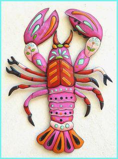 Painted Metal Lobster Wall Hanging - Lobster Metal Wall Art - Metal Art - Tropical Metal Wall Decor - Garden Decor - Tropical Decor by MetalArtofHaiti on Etsy Art Tropical, Design Tropical, Tropical Wall Decor, Coastal Decor, Tropical Interior, Tropical Colors, Tropical Garden, Tropical Furniture, Garden Furniture
