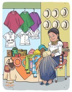 Ilustración de indígena ecuatoriana en puesto de artesanías. Realizado por Estudio Nueve