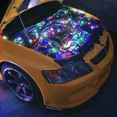 Just a bit of Christmas spirt! Evo X, Tuner Cars, Jdm Cars, Stance Nation, 3008 Peugeot, Peugeot 205, Merry Christmas, Christmas Lights, Mitsubishi Lancer Evolution