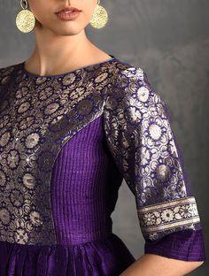 Purple Vintage Benarasi Silk Brocade Quilted Kurta with Pockets Brocade Blouse Designs, Silk Kurti Designs, Fancy Blouse Designs, Kurta Designs Women, Kurti Designs Party Wear, Designs For Dresses, New Dress Design Indian, Long Dress Design, Dress Indian Style